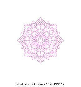 Template Of Mandala Pattern With Pink Color