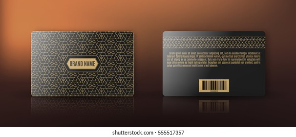 Template of membership or loyalty card with luxury gold geometric pattern. Front and back. Vector.