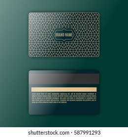 Template of membership or loyalty card. Luxury gold geometric pattern.  Eastern style element. Front and back. Vector.