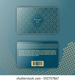Template of membership or loyalty card. Luxury gold geometric pattern. Eastern style element. Front and back. Vector. Dotted backdrop.