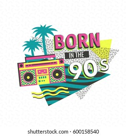 Template memphis poster or invitation for carnival with geometric ornaments elements. Back to the 90's. Vector background in trendy 80s-90s.
