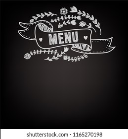 Template for the menu on the blackboard. Nice floral design and typography. Vector graphic illustration