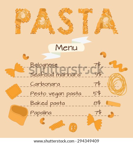template menu pasta word pasta lined stock vector royalty free