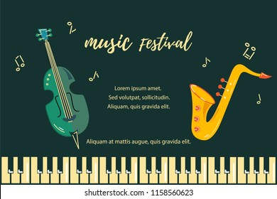 Template for music festival, jazz party, invitation, greeting card, concert poster, web, school of music. Vector illustration with saxophone, double bass and piano keyboard. Flat style.