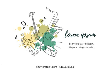 Template for music festival, jazz party, invitation, greeting card, concert poster. Vector illustration with saxophone, violin, trumpet and drum. Line style.
