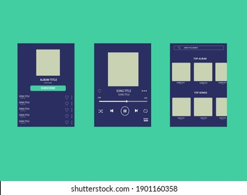 template music player for handphone. Spotify template. template music chart set.