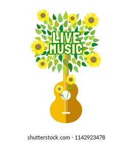 template design poster acoustic guitar silhouette stock vector