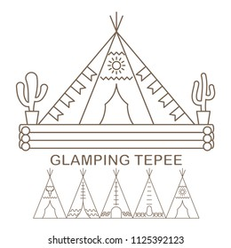 Template with native indian tepee for glamping. Flat line style glamping travel banner. Vector illustration.