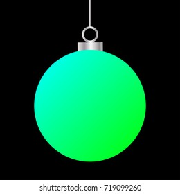 Template of neon green blue Christmas ball isolated on black background. Stocking element for decoration. EPS vector illustration for design, mock-up. Shiny toy with silver glow metal chain.