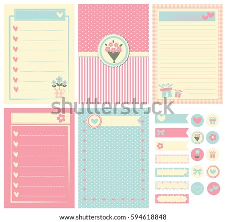 Template For Notebook Paper Diary Scrapbook And Card Decorated With Flower Heart