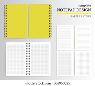 Template notepad design. Cover and papers.