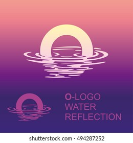 Template O-brand-name companies. Corporate style for the letter O: logo, background. Creative logo letter in the reflection in the water
