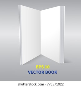 Template is an open book. With empty pages. Standing vertically on the surface, in perspective, A realistic image. On a gray background. Isolated object for design. Vector illustration.