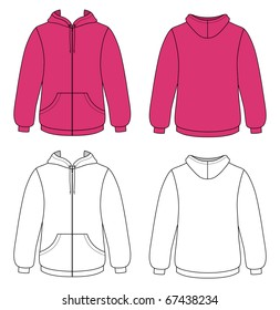 Template outline illustration of a blank hooded sweater