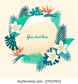 Template with palm leaves and tropical flowers round frame. Retro vector illustration. Place for your text