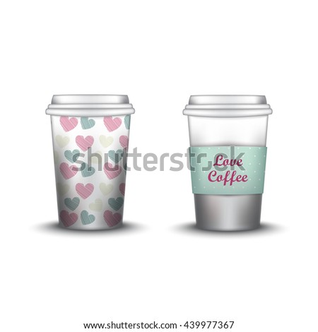 Template Paper Cup For Coffee And Tea With The Texture Soda Or