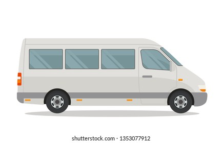Template of passenger minibus for corporate identity and advertising. Side view. Vector illustration, isolated on white background.