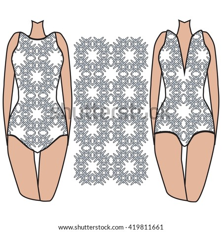 template pattern two womens swimwear pattern stock vector royalty