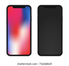 Template phone x with beautiful rainbow wallpaper and black one. High detailed vector illustration isolated on white background.