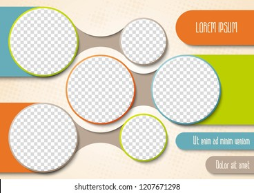 Template for photo collage or infographic in modern style. Frames for clipping masks is in the vector file. Template for a photo album with circle shapes frames