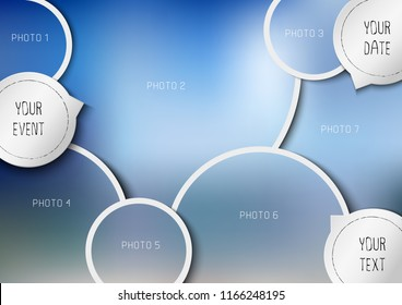 Template for photo collage in modern style. Frames for clipping masks is in the vector file. Template for a photo album with circle shapes frames
