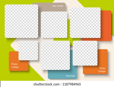Template for photo collage in modern style. Frames for clipping masks is in the vector file. Template for a photo album with square shapes frames