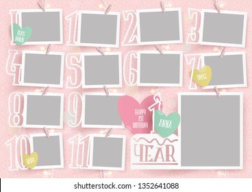 Template for photo collage.Baby girl first yaer. Garland from photos. Frames for clipping masks are in the vector file. Template for a photo album