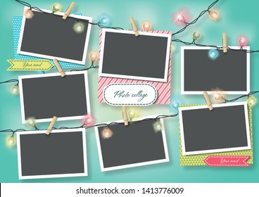 Template for photo collage.Garland from photos. Frames for clipping masks are in the vector file. Template for a photo album