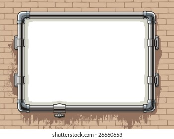 Template of a photo frame made of steel pipes, against a backdrop of a brick wall, vector illustration