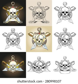 Template pirate logo, emblem, tattoo with anchor, skull, swords, ropes. Vector illustration.