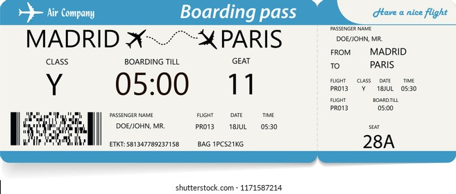 Template of plane ticket for business trip, travel or vacation journey. Variant of a boarding pass. Isolated vector illustration with blue colors