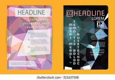 Template polygon abstract design magazine brochure flyer booklet cover annual report vector Proportionally A4