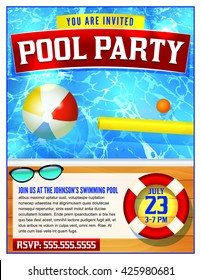 A template for a pool party invitation. Vector EPS 10.