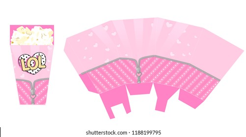 Template of popcorn box for party with zipper. Packing for birthday LOL doll surprise theme.Bright hot and light pink striped textile background with little hearts and dots. Print and cut