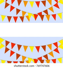 Template for postcard garlands of red yellow flags