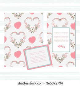 Template. Postcards, envelopes on Valentine's Day, wedding day, the day of love. Invitation, congratulation. Flowers and heart. Delicate pink, blue.