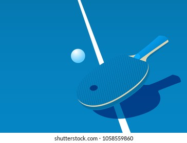 Template for poster, card or ticket. Racket for table tennis and ball. Vector illustration