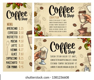 Template poster with coffee hand holding disposable cup with cardboard holder and cap, beans, cinnamon, branch, leaf, berry. Vintage color vector engraving illustration on beige for menu with price