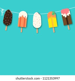 Template poster design with garland of paper ice cream with different confectionery and sauces. Summer sweets in modern paper art style, vivid colors.