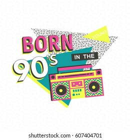Template poster or invitation for carnival with geometric ornaments elements. Back to the 90 s. Vector background in trendy 80s-90s