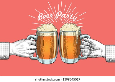 Template for poster, print, invitation or banner. Two clinking hands with beer mugs and the inscription Beer Party on a coral background. Vector illustration in vintage engraving style.