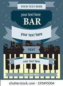 Template of poster in retro style for musical concert in night bar.