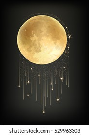 Template of poster/banner with realistic Red Moon with star rain. Vector image.