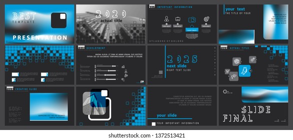 Template presentation. 2020. Business slide elements on a black background. Vector of infographic. Annotation, design. Use as a postcard, annual report, marketing, banner advertising, design services