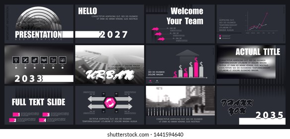 Template presentation. Elements of infographics for business slides on a black background. Vector Design of triangles. Use as a postcard, annual report, marketing, banner advertising, design services