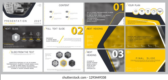 Template presentation. Yellow, black, white background. Multipurpose template for slides, business infographics. Postcard, brochure, corporate report, marketing, advertising, circle, text, digital
