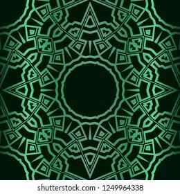 Template Print For Fabric. Pattern Of Floral Mandala Ornament With Border. Illustration. Seamless. For Print Bandana, Shawl, Carpet.