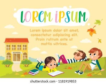 Template. Pupils on outdoor break. Children having rest. School. Autumn, fall, childhood, friends. Laying on grass.