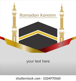template ramadan kareem kabah with tower, you can use for greeting card, invitation card, background quote, poster, banner website and other needs