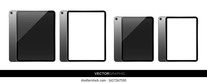 Template of realistic electronic tablets with off screen. Modern gadgets isolated on white background. Device layout. Vector illustration.